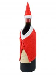 Chapeau et manteau décoration bouteille de Noël rouge blanc
