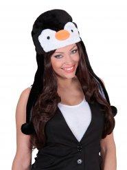 Chapeau Pingouin en peluche noire et blanc