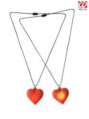 Collier pendentif cœur lumineux rouge
