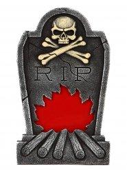 Pierre tombale grise RIP squelette et flammes
