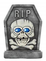 Pierre tombale squelette RIP grise et bleue 42x58cm