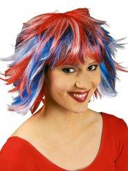 Perruque courte tricolore France adulte