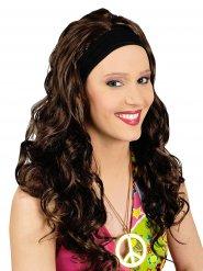 Perruque châtain cheveux longs avec bandeau femme