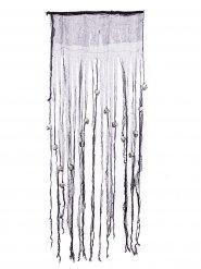Rideau motif crâne Halloween gris et blanc 175x68 cm