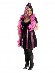 Déguisement cabaret noir et rose femme