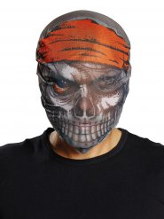 Masque Pirate zombie Halloween gris-rouge