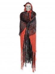 Décoration squelette rouge et noir à capuche 152 cm