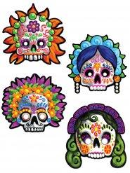 4 Masques décoratifs Dia de los muertos 30 cm