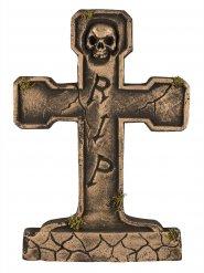 Pierre tombale RIP squelette bronze 65 cm