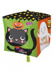 Ballon aluminium cube Happy Halloween multicolore 38 x 38 cm
