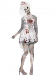 Déguisement zombie baroque gris blanc femme