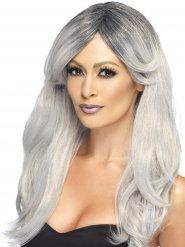 Perruque longue avec frange dégradée grise femme