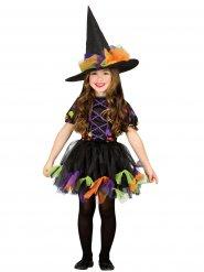Déguisement sorcière tulle coloré fille Halloween