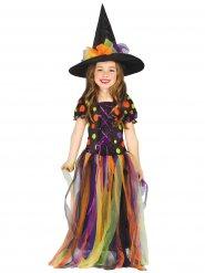 Déguisement sorcière tulle multicolore fille Halloween