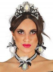 Tiare et bijoux princesse noir et blanc