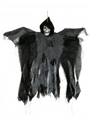 Décoration Halloween Faucheuse animée yeux brillants noir 50cm