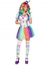 Déguisement clown arc-en-ciel femme