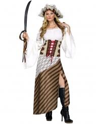 Déguisement pirate à rayures marron femme