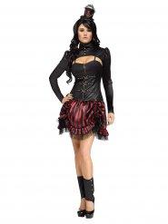 Déguisement steampunk rouge et noir femme