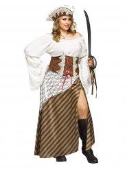 Déguisement pirate blanc marron femme