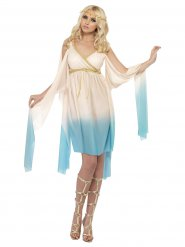 Costume de dame antique grecque Femme crème-bleu clair