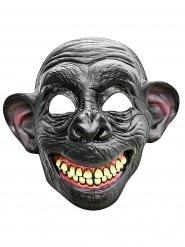 Demi-masque de singe souriant en latex gris et beige