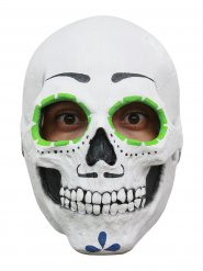 Masque de crâne mexicain blanc et multicolore