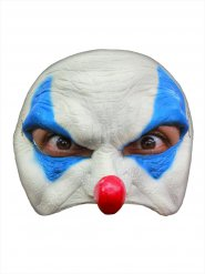 Masque méchant clown Halloween blanc et bleu