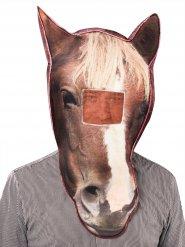 Masque de cheval photoréaliste marron et blanc
