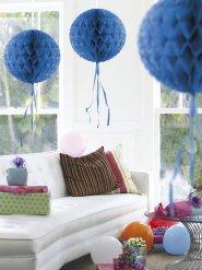 Boule décorative bleu en nid d