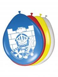 Décoration fête 8 ballons chevaliers multicolore 30cm