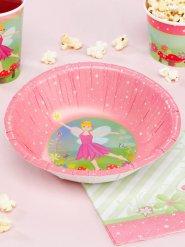8 bols en carton 18,5cm féériques roses et verts