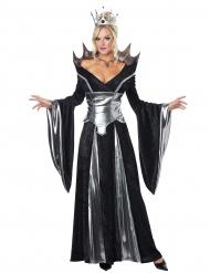 Déguisement reine diabolique de conte de fées noir et argent femme