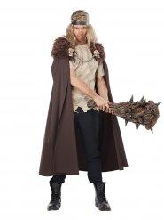 Cape de guerrier Viking avec fausse fourrure et têtes de mort
