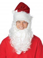 Bonnet de Père Noël avec barbe blanche