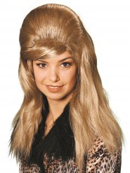 Perruque blonde platine cheveux longs rétro adulte