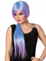 Perruque longue bleue et violette adulte