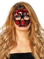 Masque squelette dentelle noir et rouge femme Halloween