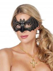Masque chauve-souris pierres précieuses noir