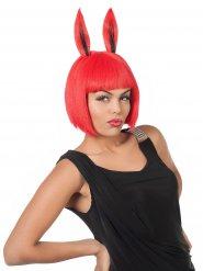 Perruque rouge oreilles de lapin femme