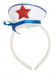 Serre-tête chapeau de capitaine blanc et bleu