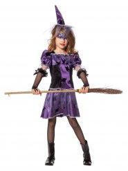 Déguisement sorcière fille violet et noir Halloween