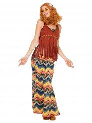 Déguisement Hippie zig zag marron femme