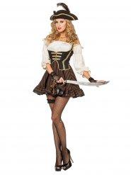 Déguisement de pirate chic marron femme