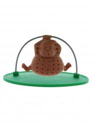 Boule à thé singe marron-vert 10x10x5cm