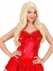 Corset burlesque paillettes rouge