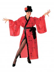 Déguisement geisha rouge et noir femme