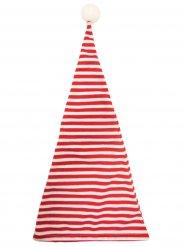 Bonnet de nuit rayé rouge et blanc avec pompon adulte