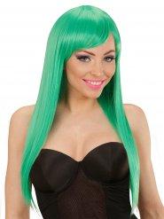 Perruque longs cheveux lisses avec frange vert