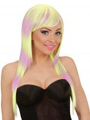 Perruque cheveux longs droits frange rayé violet jaune